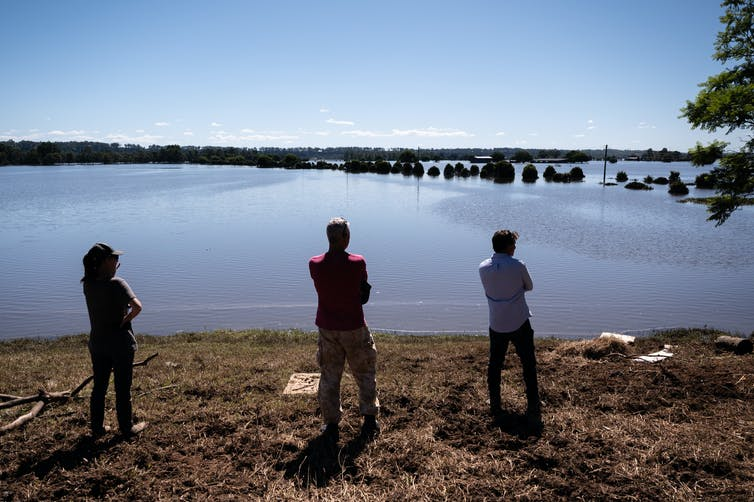 People look at flooded floodplains in NSW.