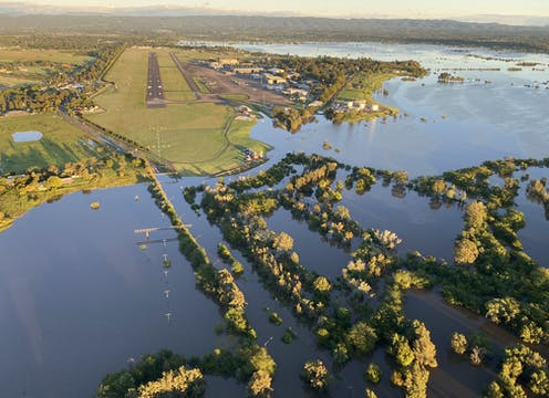 Floodwaters collect in a NSW floodplain.
