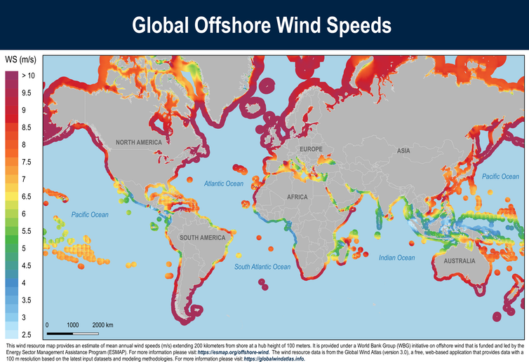 World map highlighting coastal areas by wind speed. The U.S. coasts stand out.