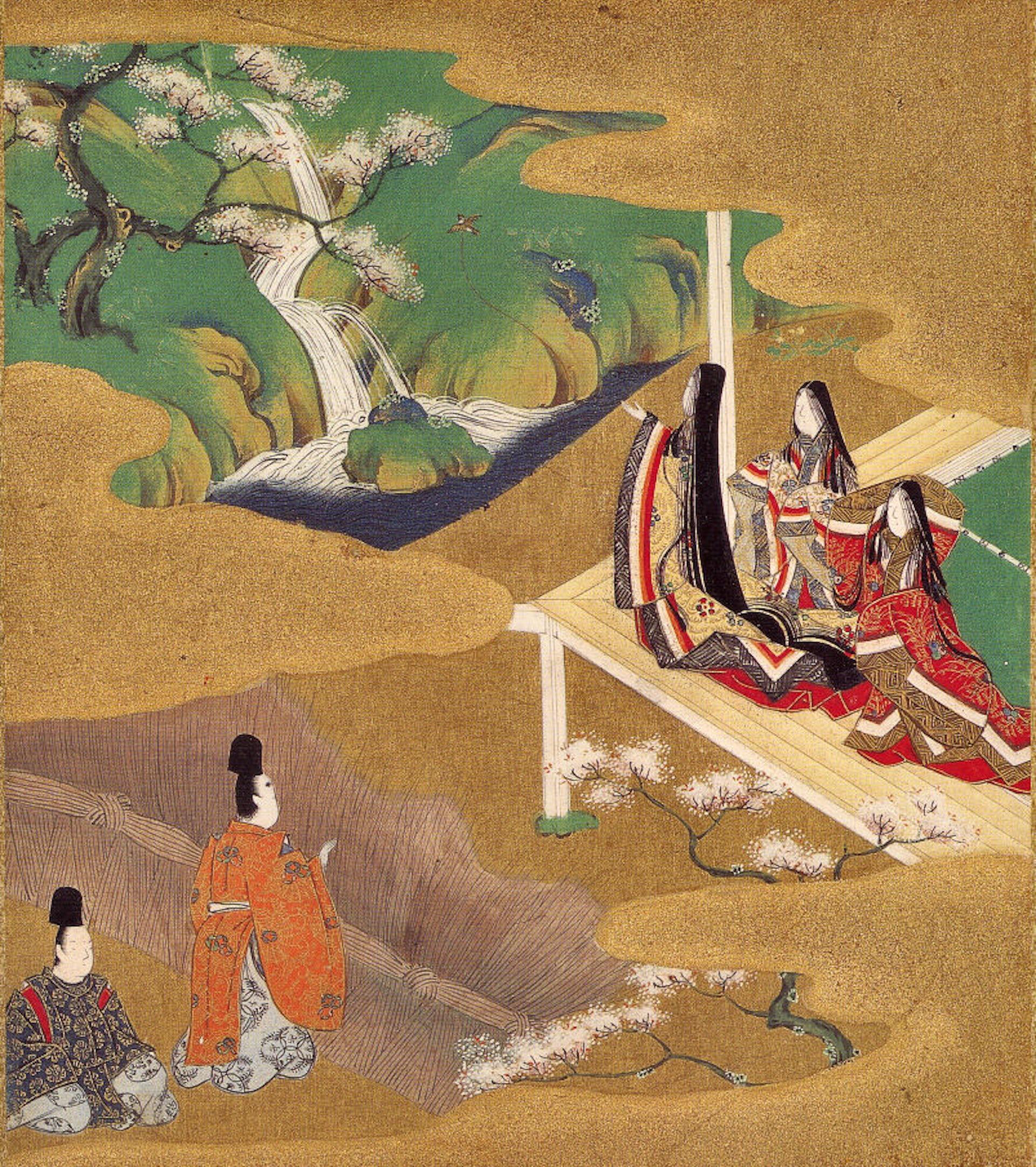 Illustration of sakura in Japan's most celebrated work of literature, Jap by Murasaki Shikibu.