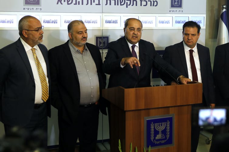 Arab/Israeli political party, Joint List at a press conference in Jerusalem, March 2019 (l/r: Osama Saadi, Mansour Abbas, Ahmad Tibi, Ayman Odeh.)