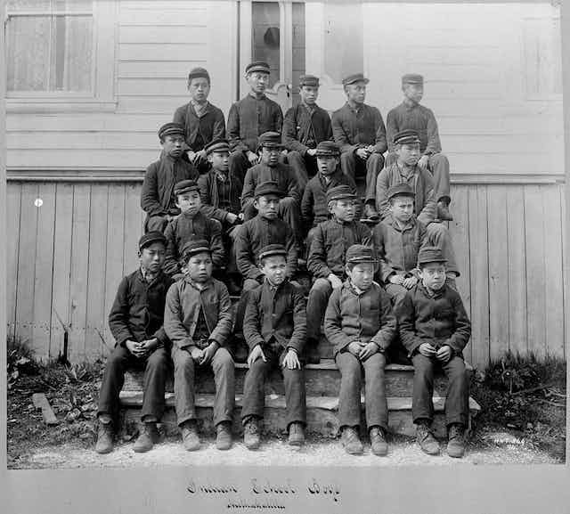 Group of Indigenous boys outside residential school