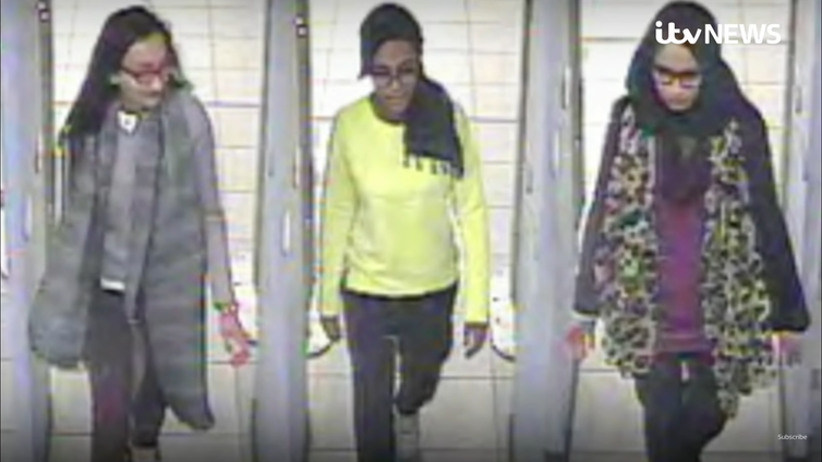 CCTV image of three young girls in an airport