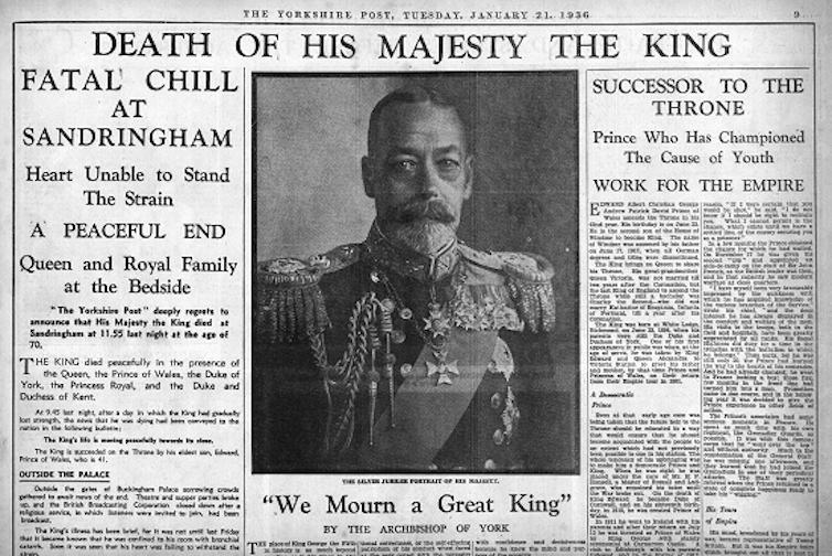 Découpe de la première page du Yorkshire Post, annonçant la mort du roi George V le 21 janvier 1936.