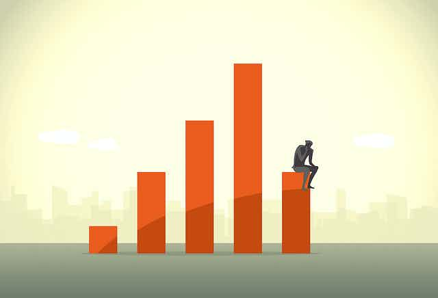 Illustration of rising GDP with the silhouette of a man sitting on the lowest rung, hand on fist