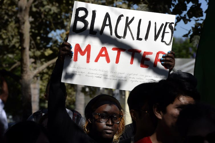A Black Lives Matter demonstration in Los Angeles in August 2014, following the killing of Mike Brown, fatally shot by police in Ferguson, Missouri.
