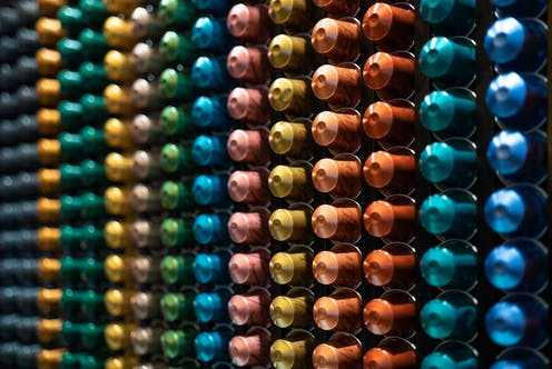 Image of capsules used by Nespresso machines.