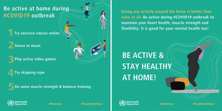 World Health Organization #HealthyAtHome campaign infographics