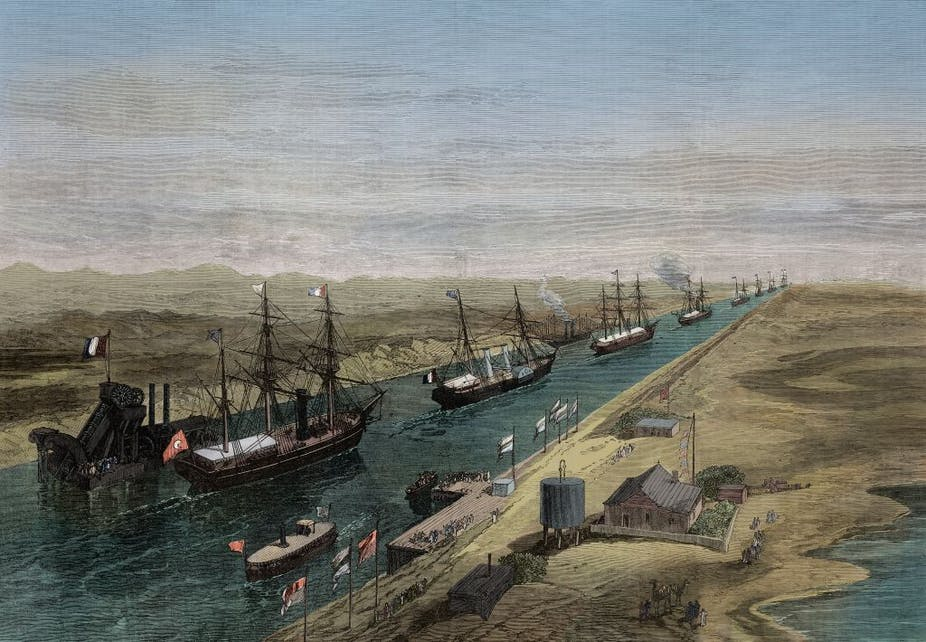 A procession of ships in the canal at the opening of the Suez Canal, Egypt