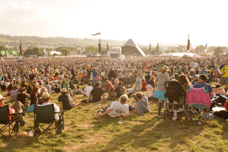 Sea of tents and main stage at Glastonbury festival