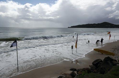 Byron Bay beach on an overcast day.