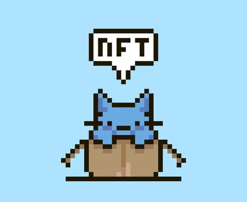 A digitally rendered blue cat poking out of a box saying 'NFT'.