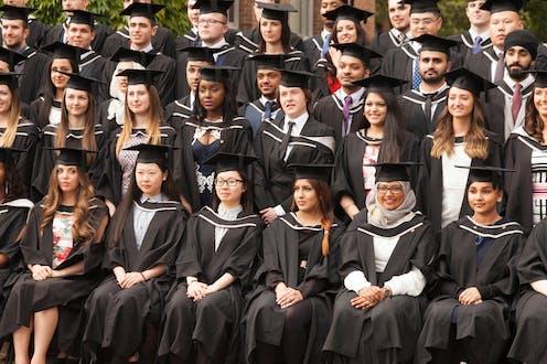 University graduates sitting in rows