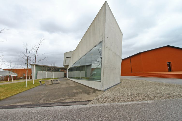 An early, futuristic concrete design for a fire station in Germany by British-Iraqi architect Zaha Hadid