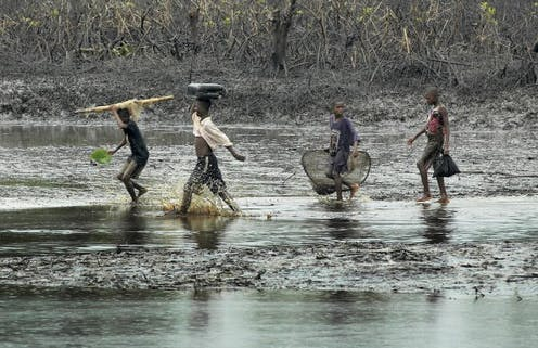 Adolescents walk through a mangrove swamp polluted by crude oil o
