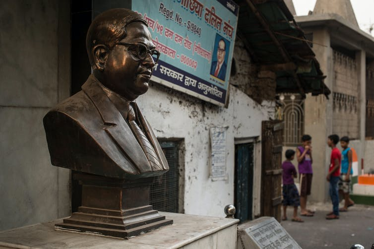 Statue of Dr. B. R. Ambedkar, an indian politician Dalit (Untouchables) strongly advocated for abolishing the caste system. Kolkata, India