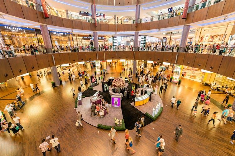 Panoramic photo of a modern shopping centre in Dubai, UAE.