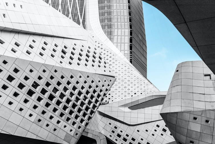 Details of the exterior of the Nanjing International Youth Cultural Center by Zaha Hadid in Nanjing, China