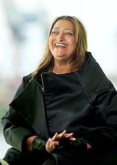 Close-up shot of Zaha Hadid laughing