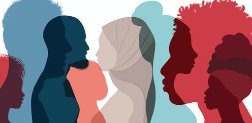 Multicoloured silhouettes of people from different ethnicities