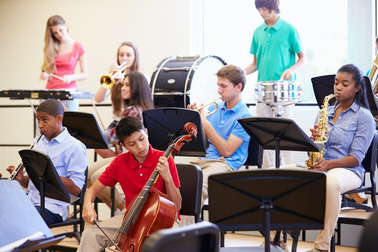 Students in a band class.