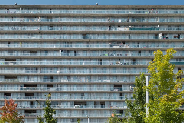 A high-rise housing estate with balconies and trees