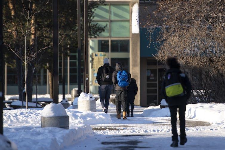 Teens going to school.