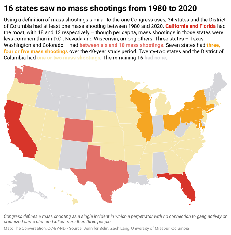 A map of the United States showing the amount of mass shootings that have occurred in each state from 1980-2020.