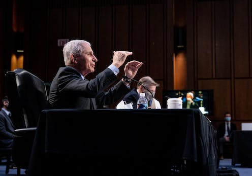 Dr. Anthony Fauci testifies at a Senate hearing, March 18, 2021