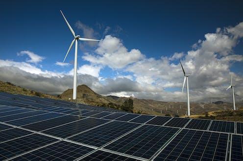 Transmission links renewable energy generators to demand centers.