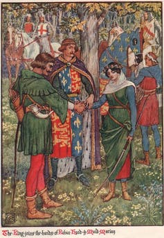 Illustration du roman de Henry Gilbert, Robin Hood and the Men of the Greenwood (1912)