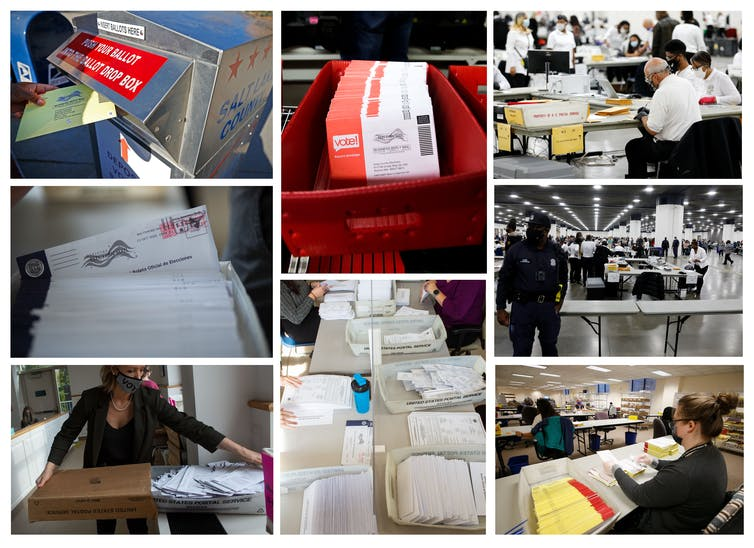 A combination of many photos showing ballots on Election Day 2020.