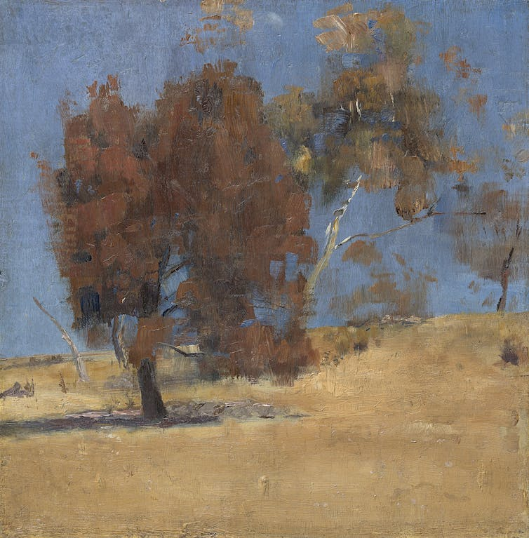 Painting: a dusky tree against a dry landscape and blue sky.