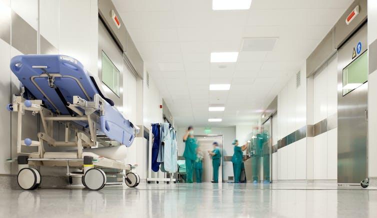 A hospital corridor.