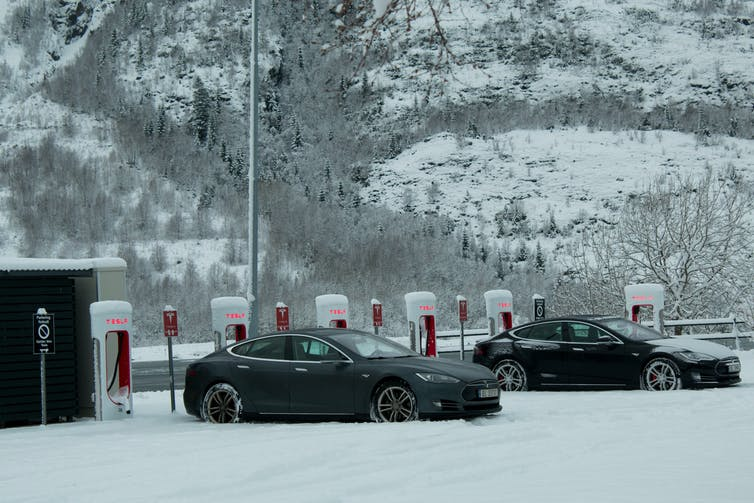 EVs in snow in Norway