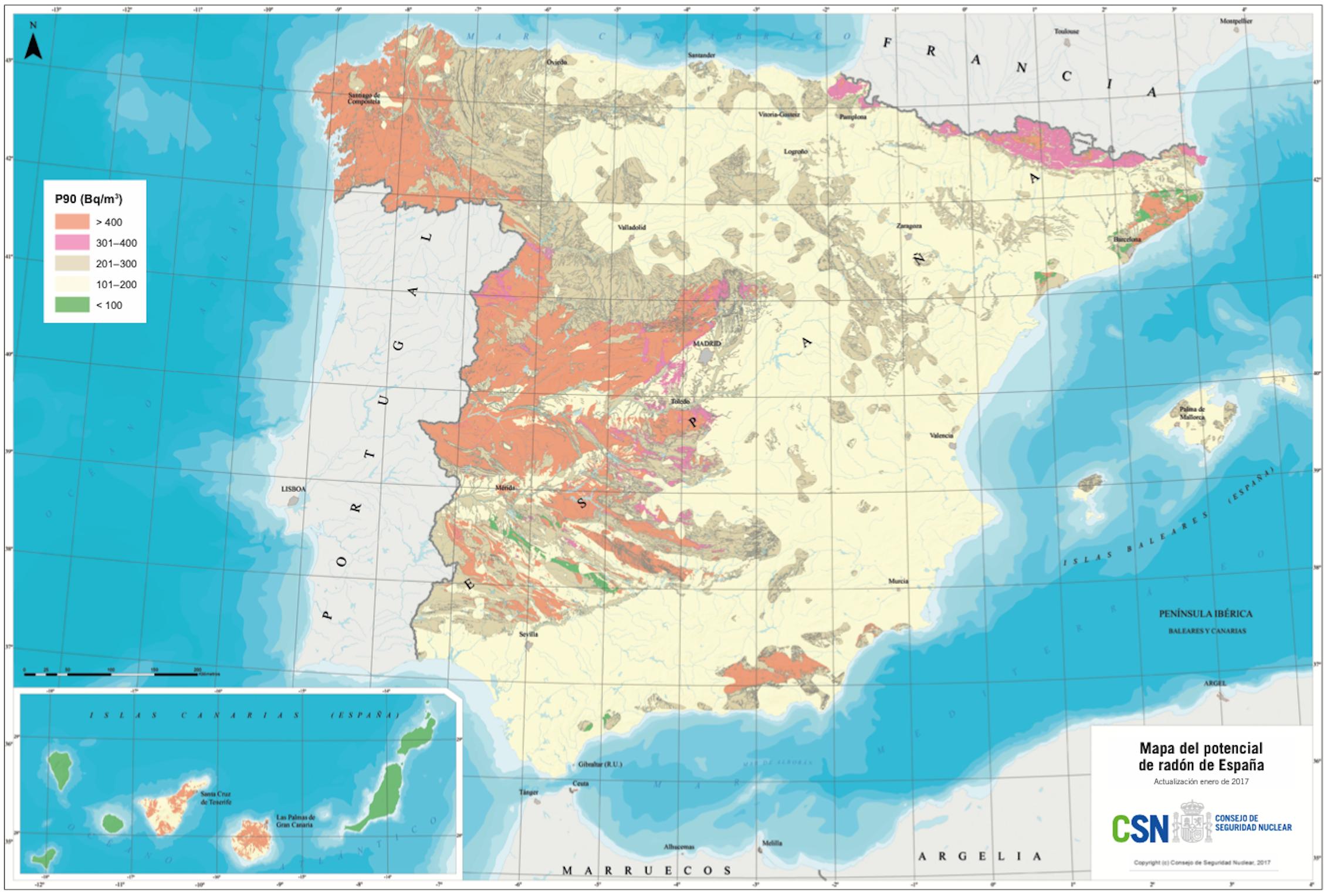 Mapa del potencial de radón en España.Consejo de Seguridad Nuclear