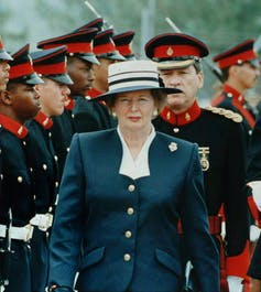 Margaret Thatcher with Royal Bermuda regiment in 1990