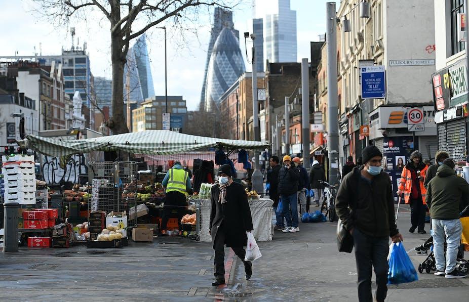 A market street in East London