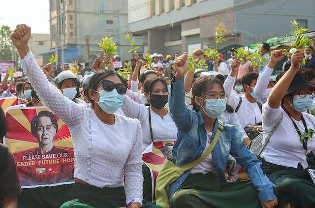 Democracy protests in Myanmar.