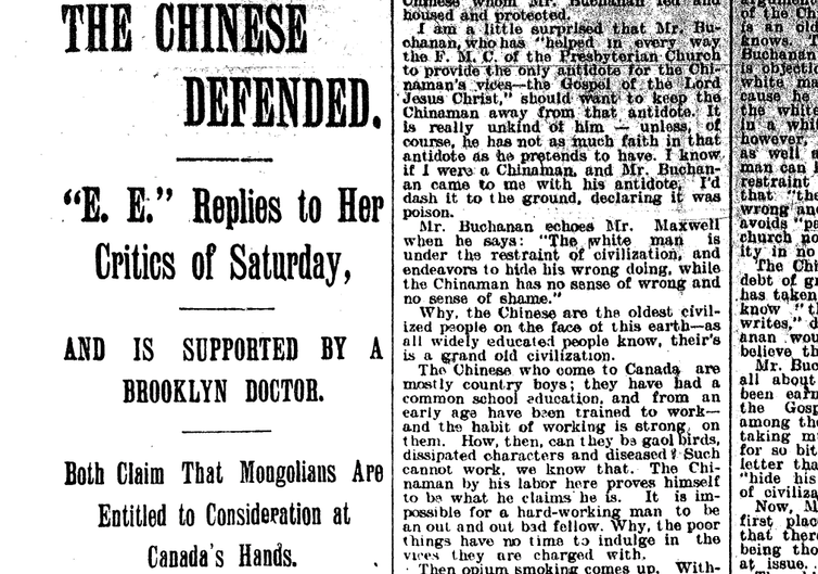 1896 newspaper article titled 'The Chinese Defended'