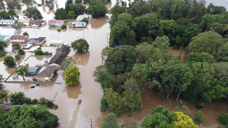 Houses lie flooded in NSW after recent rains.