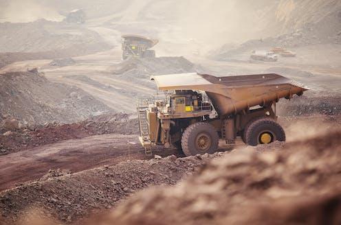 A copper mining dump truck