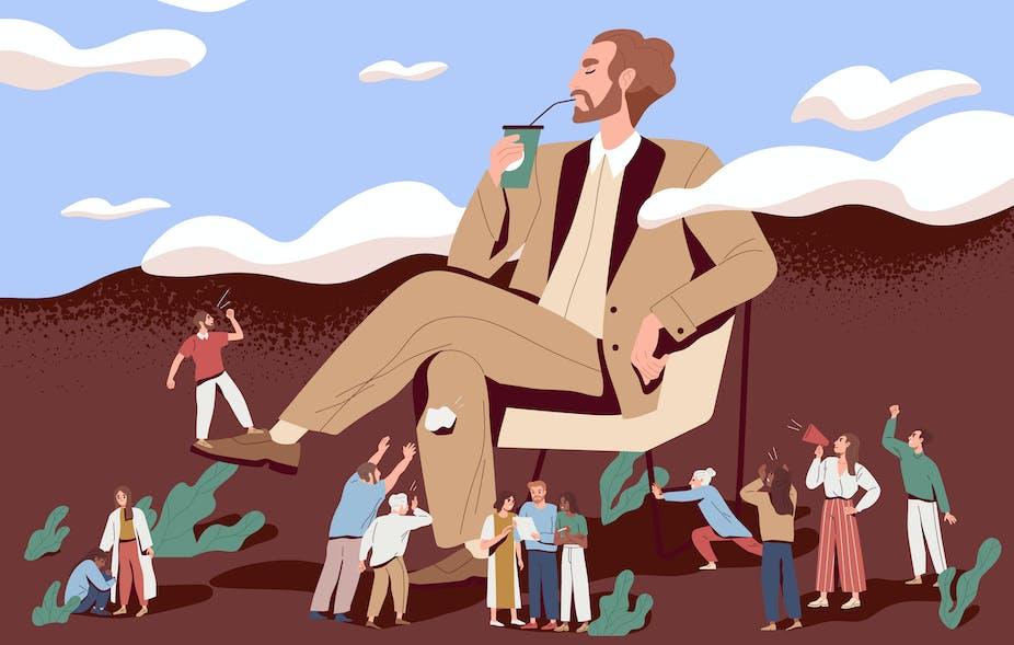 Cartoon illustration of selfish management