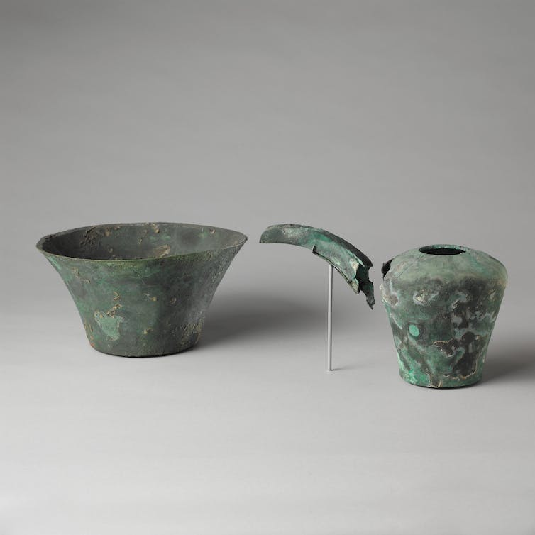 Hand washing bowl and spouted jar for pouring water over the hands.