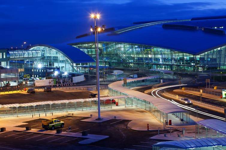 Dublin airport terminal two at night