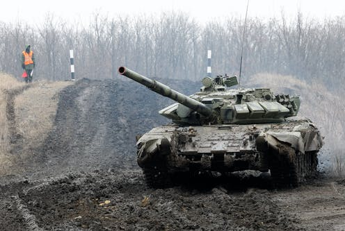 A Russian tank in a firing range in Ukraine.