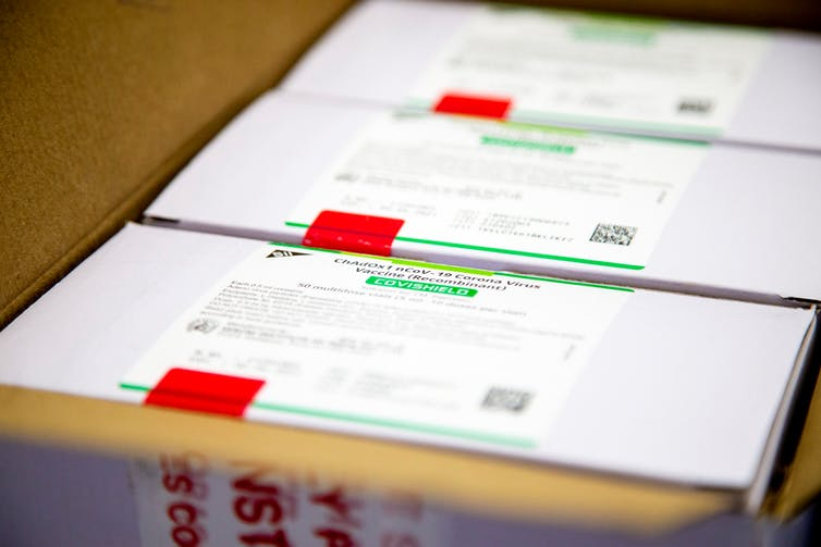 Boxes of vaccine inside a larger shipping box