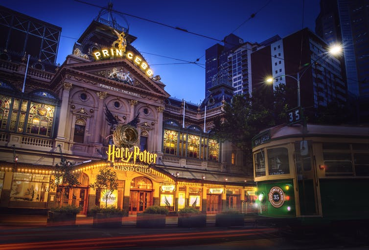 Harry Potter sign over Melbourne theatre
