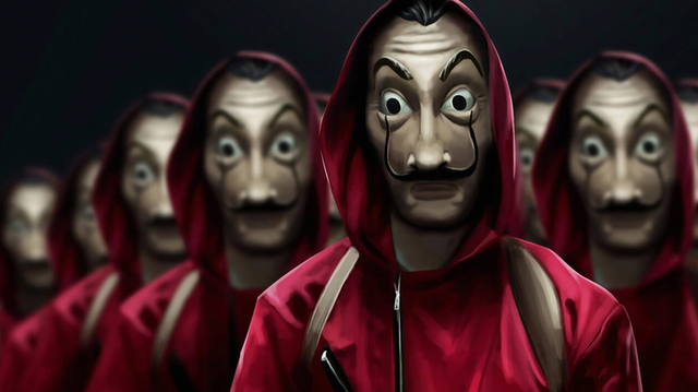 Figures in red hoods and Salvador Dali masks
