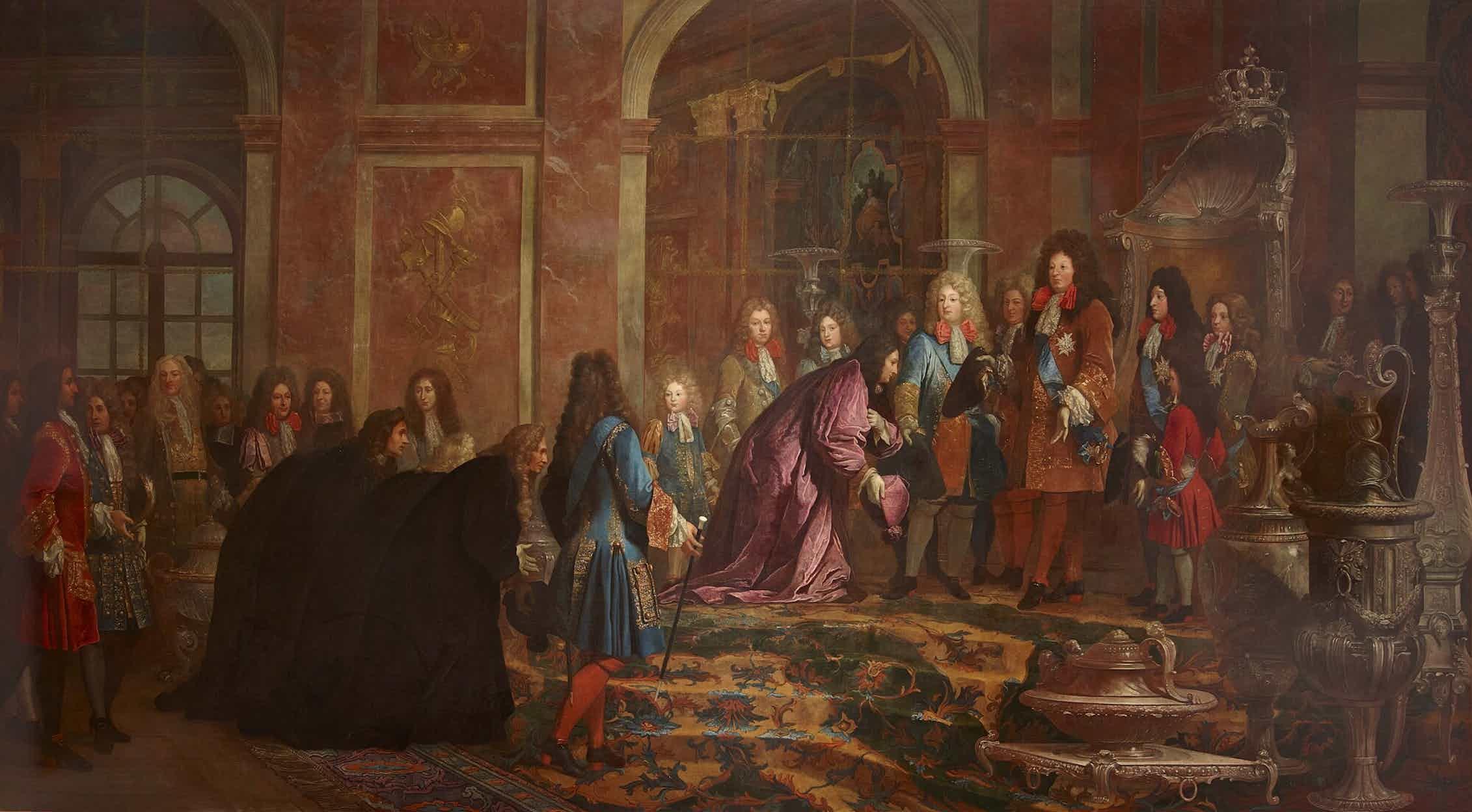 Cartón de tapicería encargado por Luis XIV. La escena tiene lugar en el Salón de los Espejos del Palacio de Versalles. (Claude-Guy Hallé, 1715).Wikimedia Commons